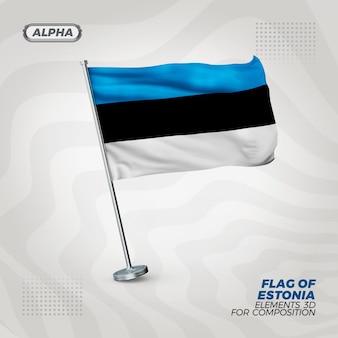 Bandiera strutturata 3d realistica dell'estonia per la composizione