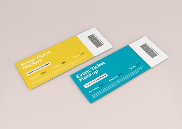 Progettazione di mockup di biglietti per eventi in rendering 3d isolato