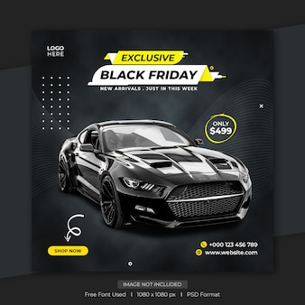 Modello di banner post social media esclusivo black friday