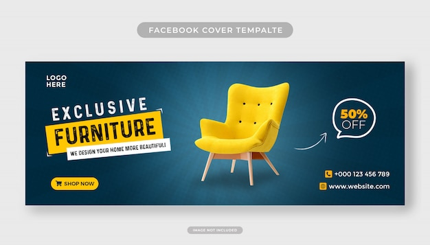 Modello di copertina facebook di vendita di mobili esclusivi