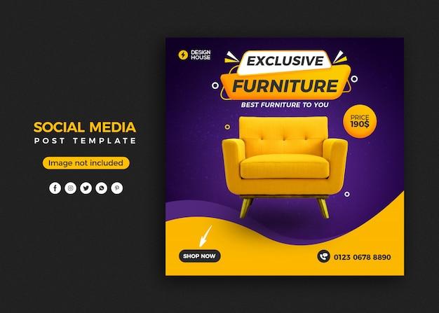 Mobili esclusivi social media post banner template design