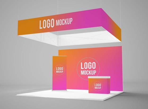 Mockup 3d di stand espositivo isolato