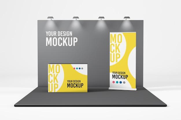 Mockup di stand fieristico in rendering 3d isolato
