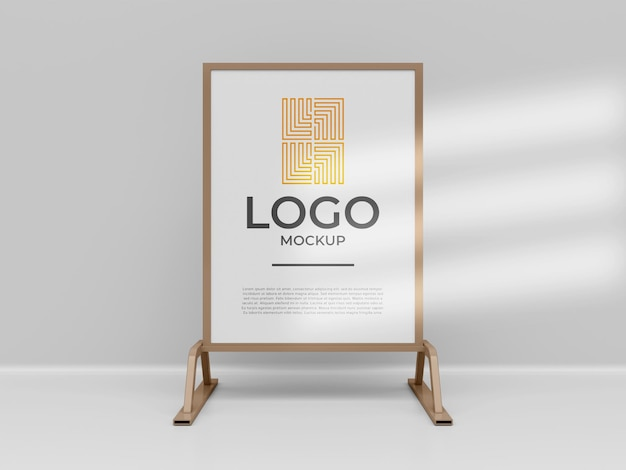 Espositore stand banner logo mockup 3d render