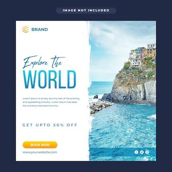 Esplora il banner instagram dell'agenzia di viaggi mondiale o il modello di post sui social media