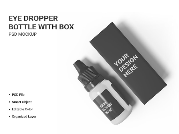 Bottiglia contagocce con scatola mockup isolato