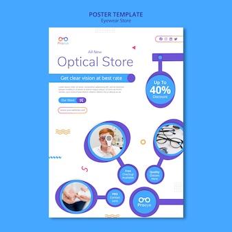 Modello di poster del negozio di occhiali