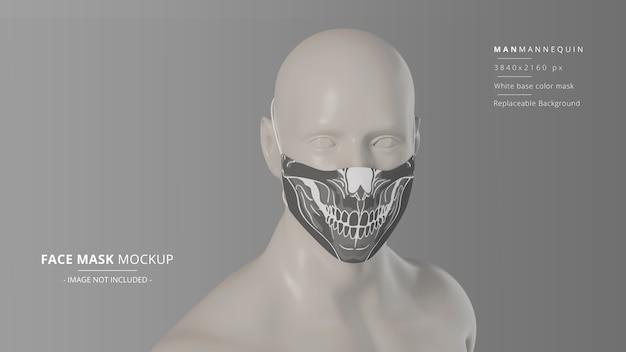 Manichino uomo in tessuto con maschera per il viso