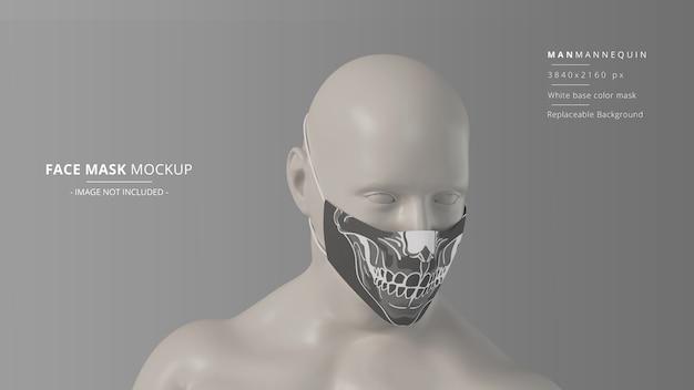 Mockup di maschera facciale in tessuto manichino uomo vista frontale destra