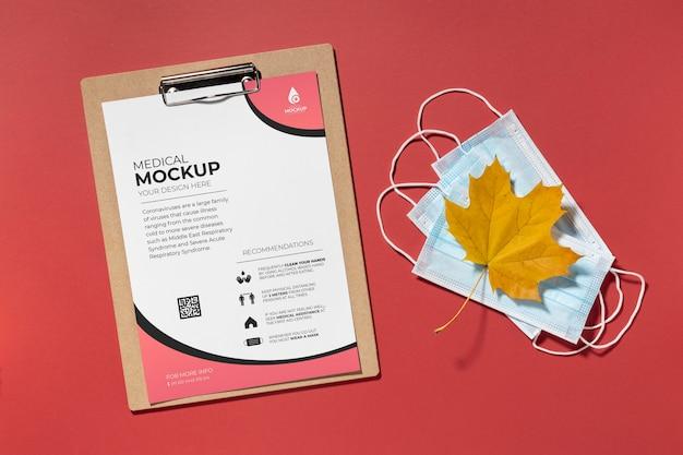 Mock-up di concetto minimo di maschera per il viso