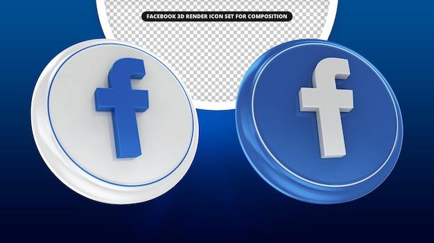 Icona di rendering 3d di facebook impostata per compotision