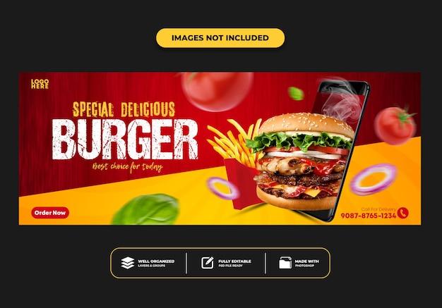 Modello di banner post copertina facebook per hamburger menu fast food ristorante restaurant