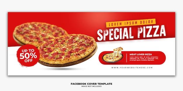 Modello di banner di copertina di facebook per ristorante fast food menu pizza