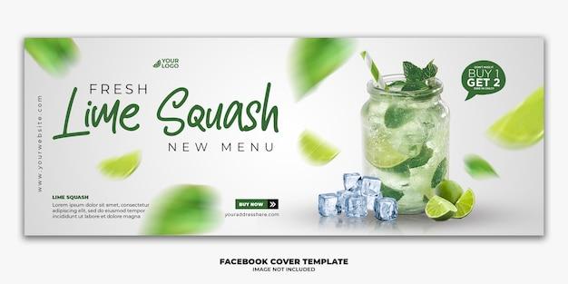 Modello di banner di copertina di facebook per la bevanda speciale del menu del cibo del ristorante
