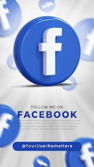 Logo lucido di facebook e icone dei social media story
