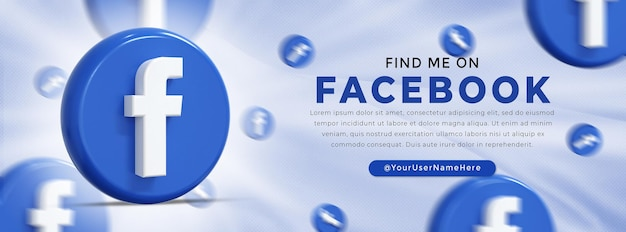 Facebook logo lucido e icone social media banner web
