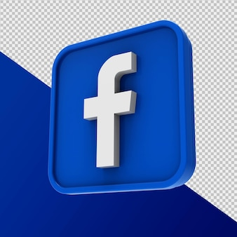 Icona di facebook rendering 3d isolato
