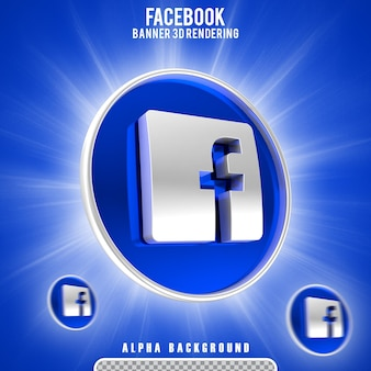 Rendering 3d del logo dell'icona di facebook
