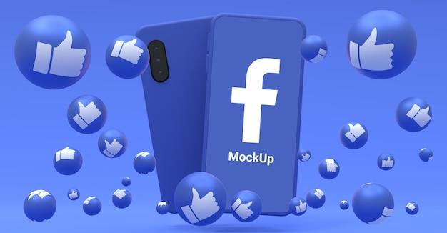 Icona di facebook sul mockup dello schermo dello smartphone e reazioni di facebook