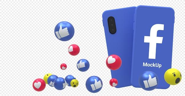 Icona di facebook sullo smartphone con schermata mockup con reazioni di facebook