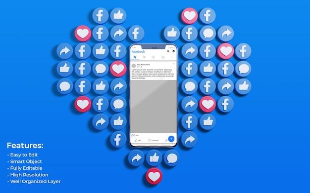 Mockup dell'interfaccia di facebook circondato da like 3d