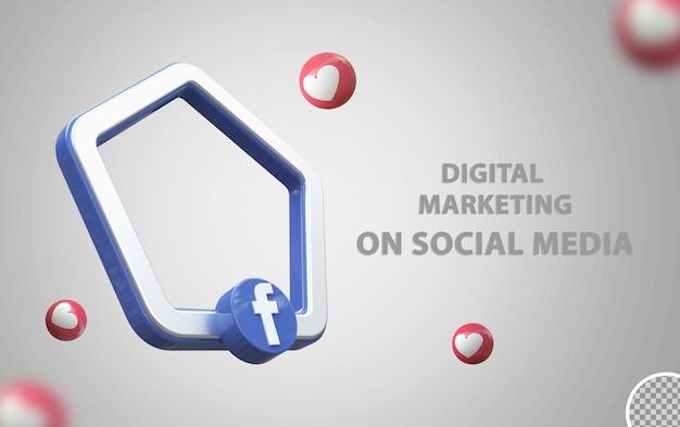 Logo di facebook con mockup di cornice 3d