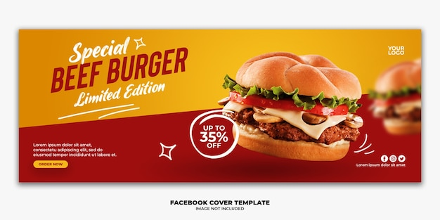 Modello di post di facebook hamburger speciale per menu fastfood