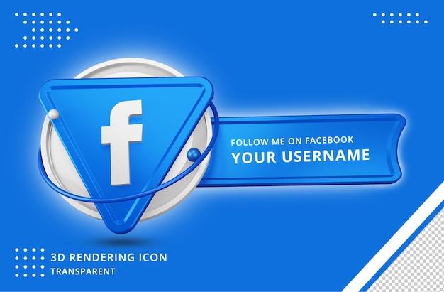 Icona del profilo di facebook nel rendering 3d