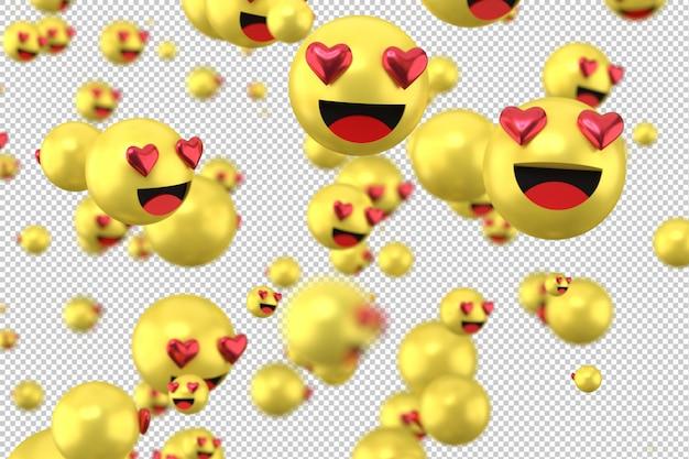 Le reazioni di facebook amano il rendering di emoji 3d su sfondo trasparente, simbolo dell'aerostato dei social media con il cuore