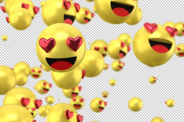 Le reazioni di facebook amano il rendering di emoji 3d sul simbolo palloncino trasparente e social media con il cuore