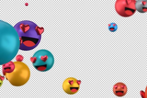 Le reazioni di facebook amano il rendering di emoji 3d sul simbolo palloncino trasparente e social media con il cuore Psd Premium