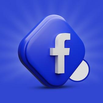 Icona facebook tri rettangolo 3d
