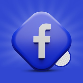 Icona facebook tri rettangolo 3d render
