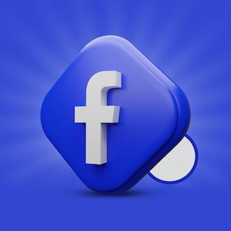 Icona facebook tri rettangolo 3d rendering