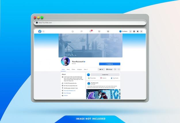 Modello di interfaccia utente di facebook sul mockup del browser web 3d