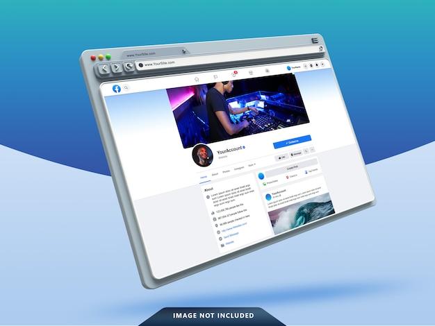 Modello dell'interfaccia utente di facebook sul mockup del browser web 3d Psd Premium