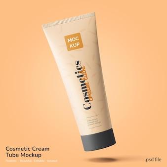 Bellezza del viso e cosmetici spa lozione crema tubo marchio prodotto mockup galleggiante