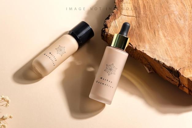 Crema per bottiglia di vetro per fondotinta viso mockup di branding di bellezza e cosmetologia
