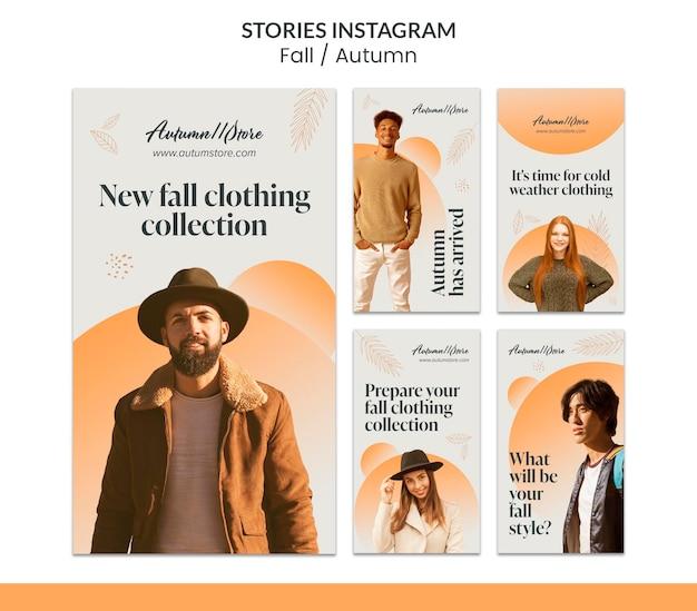Disegno del modello autunnale autunnale delle storie di instagram