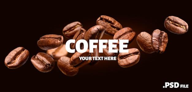 Insegna di caduta dei chicchi di caffè su fondo nero