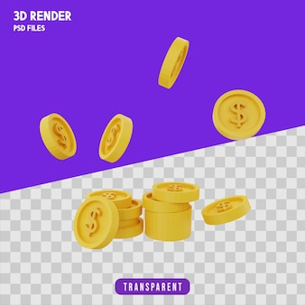 Monete che cadono rendering 3d isolato premium