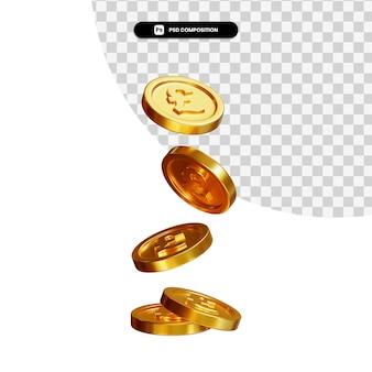 Monete che cadono rendering 3d isolato