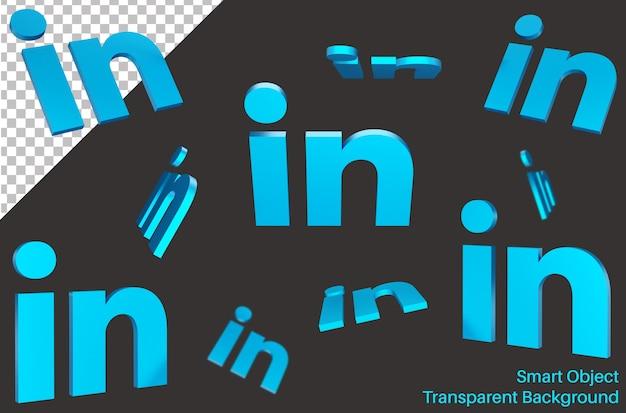 Falling linked in logo dei social media in stile 3d