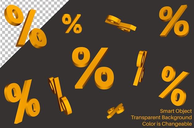 Segno di percentuale in calo in stile 3d