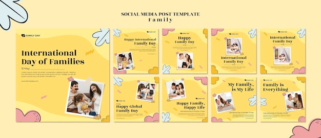 Modello di post sui social media per la giornata della famiglia