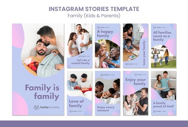 Storie di famiglia sui social media con foto