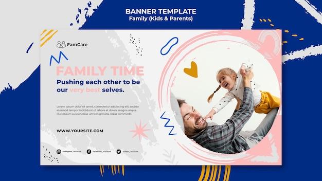 Modello di banner per il tempo della famiglia Psd Premium