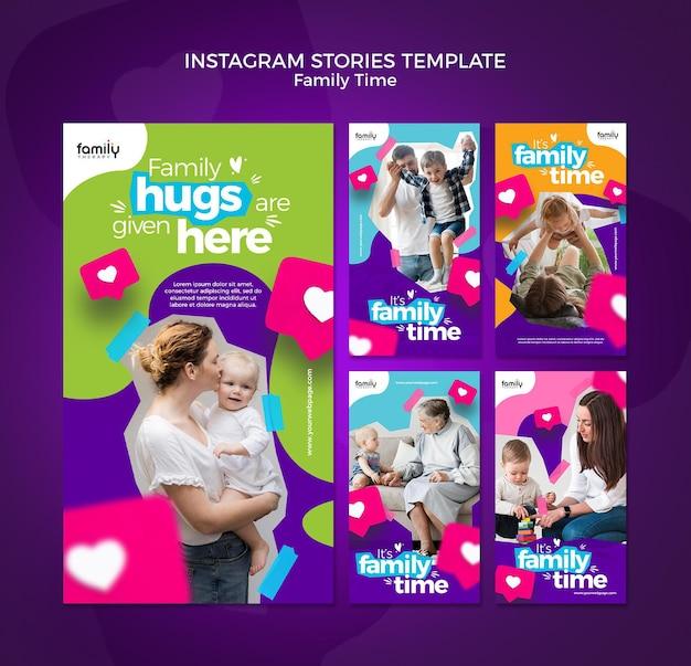 Modello di storie di instagram di concetto di tempo della famiglia