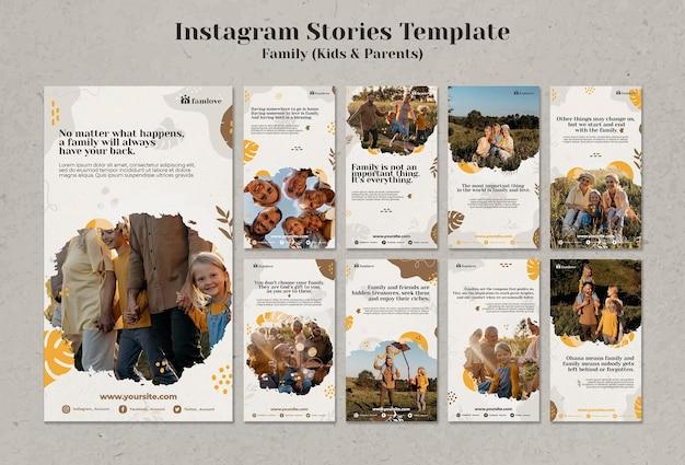 Famiglia con genitori e bambini modello di storie instagram