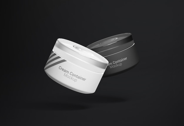 Fancy cosmetic jar cream container packaging mockup